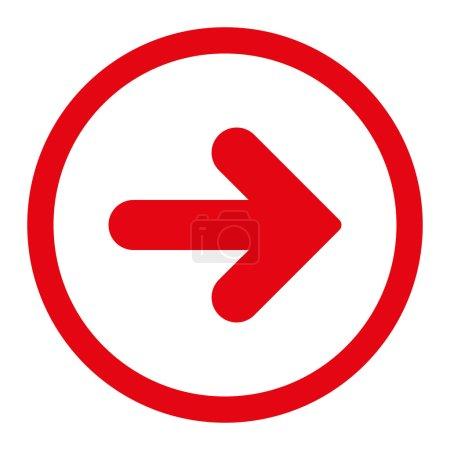 Photo pour Flèche icône raster droite. Ce symbole plat arrondi est dessiné avec une couleur rouge sur un fond blanc - image libre de droit