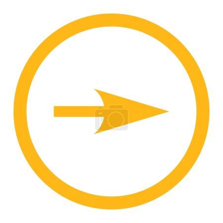 Photo pour Flèche Axe X icône raster. Ce symbole plat arrondi est dessiné avec une couleur jaune sur un fond blanc - image libre de droit