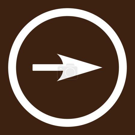 Photo pour Flèche Axe X icône raster. Ce symbole plat arrondi est dessiné avec une couleur blanche sur un fond brun - image libre de droit