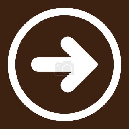 Photo pour Flèche icône raster droite. Ce symbole plat arrondi est dessiné avec une couleur blanche sur un fond brun - image libre de droit