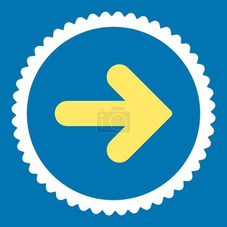 Photo pour Flèche Icône de timbre rond droit. Ce symbole de glyphe plat est dessiné avec des couleurs jaunes et blanches sur un fond bleu - image libre de droit