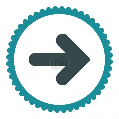 Photo pour Flèche Icône de timbre rond droit. Ce symbole de glyphe plat est dessiné avec des couleurs bleu doux sur un fond blanc - image libre de droit