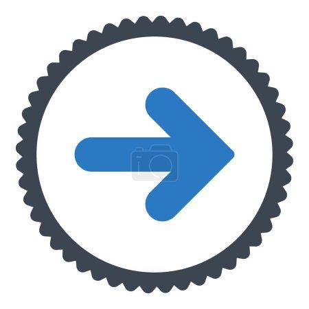 Photo pour Flèche Icône de timbre rond droit. Ce symbole de glyphe plat est dessiné avec des couleurs bleues lisses sur un fond blanc - image libre de droit
