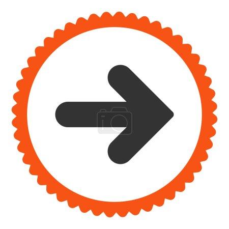 Photo pour Flèche Icône de timbre rond droit. Ce symbole de glyphe plat est dessiné avec des couleurs orange et gris sur un fond blanc - image libre de droit