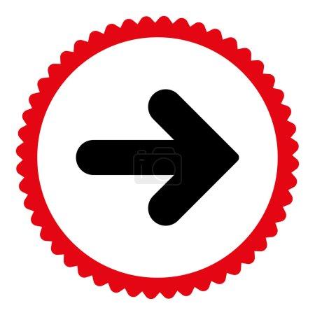 Photo pour Flèche Icône de timbre rond droit. Ce symbole de glyphe plat est dessiné avec des couleurs rouges et noires intenses sur un fond blanc - image libre de droit