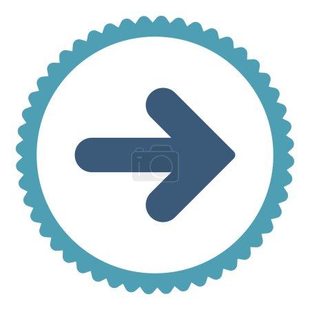 Photo pour Flèche Icône de timbre rond droit. Ce symbole de glyphe plat est dessiné avec des couleurs cyan et bleu sur fond blanc - image libre de droit