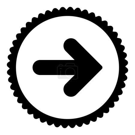 Photo pour Flèche Icône de timbre rond droit. Ce symbole de glyphe plat est dessiné avec une couleur noire sur un fond blanc - image libre de droit