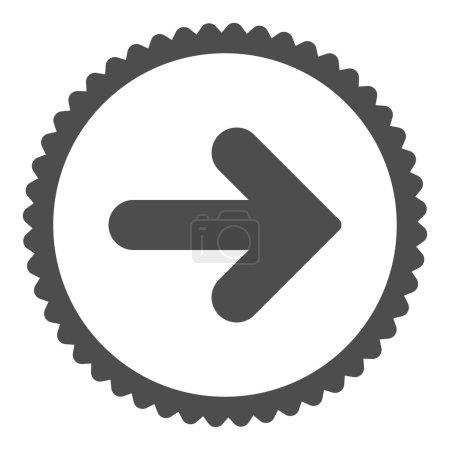 Photo pour Flèche Icône de timbre rond droit. Ce symbole de glyphe plat est dessiné avec une couleur grise sur un fond blanc - image libre de droit