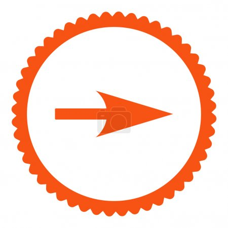 Photo pour Flèche Axe X icône de timbre rond. Ce symbole de glyphe plat est dessiné avec une couleur orange sur un fond blanc - image libre de droit