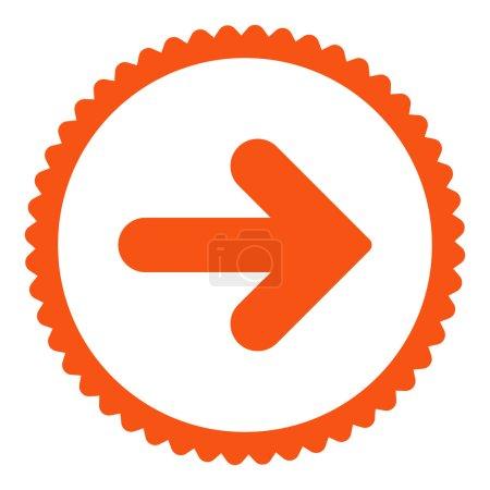 Photo pour Flèche Icône de timbre rond droit. Ce symbole de glyphe plat est dessiné avec une couleur orange sur un fond blanc - image libre de droit