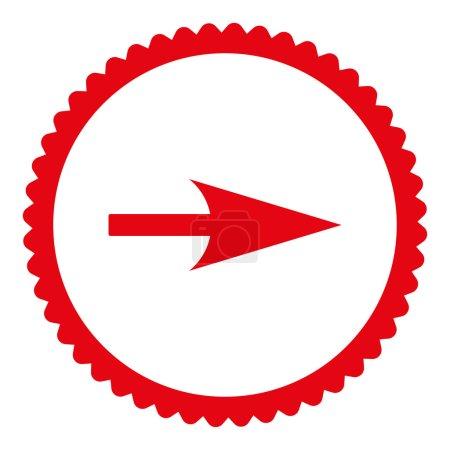 Photo pour Flèche Axe X icône de timbre rond. Ce symbole de glyphe plat est dessiné avec une couleur rouge sur un fond blanc - image libre de droit
