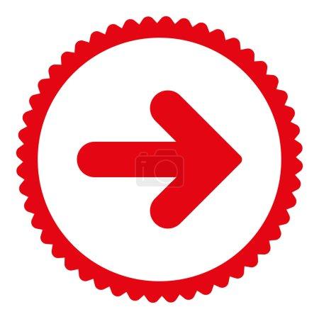 Photo pour Flèche Icône de timbre rond droit. Ce symbole de glyphe plat est dessiné avec une couleur rouge sur un fond blanc - image libre de droit