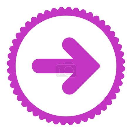Photo pour Flèche Icône de timbre rond droit. Ce symbole de glyphe plat est dessiné avec une couleur violette sur un fond blanc - image libre de droit