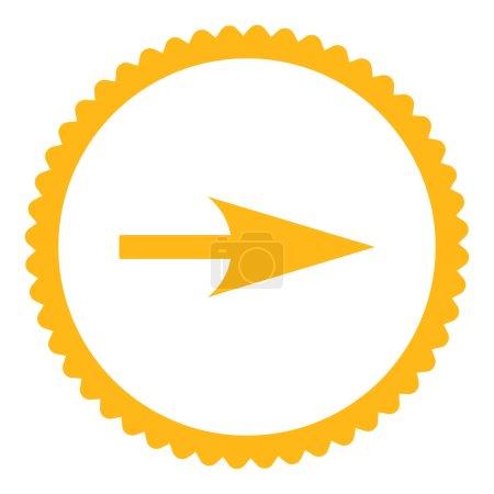 Photo pour Flèche Axe X icône de timbre rond. Ce symbole de glyphe plat est dessiné avec une couleur jaune sur un fond blanc - image libre de droit