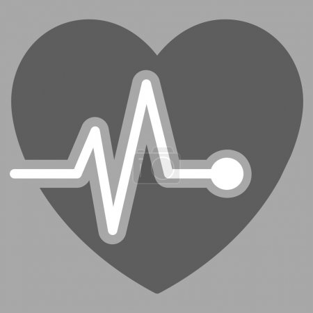 Heart Pulse illustration icon. Style is bicolor fl...