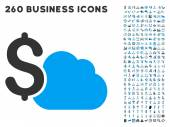Cloud Banking Icon with Flat Vector Set