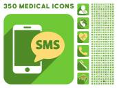 Phone SMS Icon and Medical Longshadow Icon Set