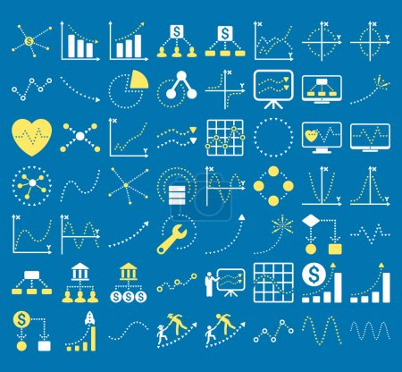 Illustration for Business Charts With Triangle Dots vector icons. Style is bicolor yellow and white flat symbols on a blue background. - Royalty Free Image