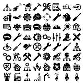Service Tools and Space Rockets vector icon set Collection style is black flat symbols on a white background