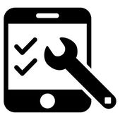 Smartphone Options vector icon Style is flat icon symbol black color white background