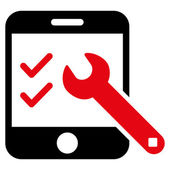 Smartphone Options vector icon Style is bicolor flat icon symbol intensive red and black colors white background