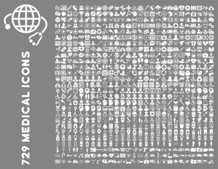 Photo for Medical Icon Set with 729 vector icons. Style is white flat icons isolated on a gray background. - Royalty Free Image