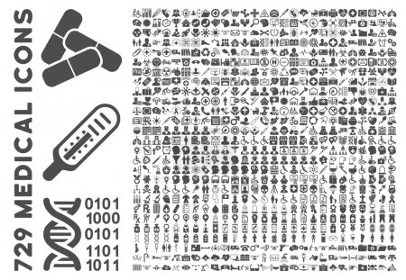 Photo for Medical Icon Set with 729 vector icons. Style is gray flat icons isolated on a white background. - Royalty Free Image