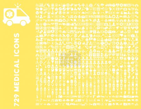 Photo for Medical Icon Clipart with 729 vector icons. Style is white flat icons isolated on a yellow background. - Royalty Free Image