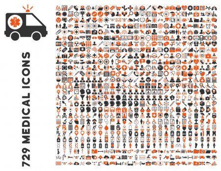 Photo for Medical Icon Clipart with 729 vector icons. Style is bicolor orange and gray flat icons isolated on a white background. - Royalty Free Image