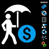 Walking Banker With Umbrella icon with bonus pictograms Vector illustration style is flat iconic bicolor symbols blue and white colors black background rounded angles