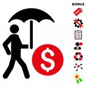 Walking Banker With Umbrella icon with bonus pictograms Vector illustration style is flat iconic bicolor symbols intensive red and black colors white background rounded angles
