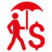 Walking Businessman With Umbrella icon Vector style is flat iconic symbol with rounded angles red color white background
