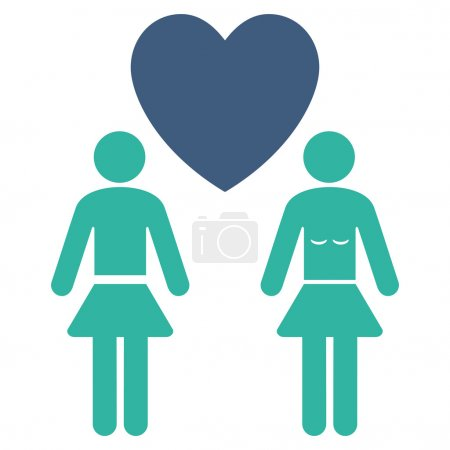 Lesbi Love Pair icon. Vector style is bicolor flat...