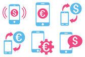 Mobilní bankovnictví plochý vektorové ikony