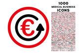 Euro Chargeback Rounded Icon with 1000 Bonus Icons
