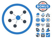 Connections icon with bonus design elements Vector illustration style is flat iconic bicolor symbols smooth blue colors white background