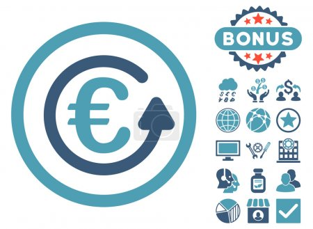Euro Chargeback Flat Vector Icon with Bonus