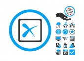 Reject icon with bonus clip art Vector illustration style is flat iconic bicolor symbols blue and gray colors white background