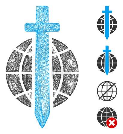 Illustration pour Globe d'épée de cadre de fil vectoriel. Filet plat de carcasse de fil géométrique fabriqué à partir de l'icône de globe d'épée, conçu à partir de lignes de croisement. Quelques icônes bonus sont ajoutées. - image libre de droit
