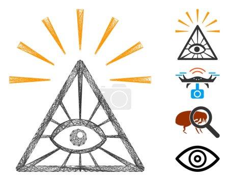 Illustration pour Cadre de fil vectoriel pyramide des yeux de contrôle total. Filet plat de cadre de fil géométrique fabriqué à partir de l'icône de pyramide d'oeil de contrôle total, conçu avec des lignes croisées. Quelques icônes bonus sont ajoutées. - image libre de droit