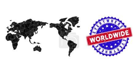 Illustration pour Carte du monde maille polygonale avec triangles remplis, et imitation timbre bicolore en caoutchouc. Carte du monde de mosaïque de triangle avec modèle vectoriel de maille, triangles ont des tailles aléatoires, et des positions, et des tons de couleur. - image libre de droit