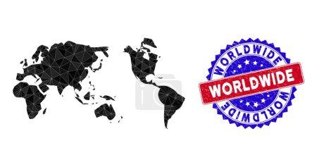 Illustration pour Carte mondiale maille polygonale avec triangles remplis et joint en caoutchouc bicolore. Carte mondiale de mosaïque de triangle avec modèle vectoriel de maille, triangles ont différentes tailles et positions, - image libre de droit