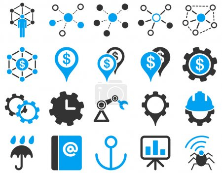 Photo for Business links and industry icon set. These flat bicolor symbols use modern corporate light blue and gray colors. Vector images are isolated on a white background. Angles are rounded - Royalty Free Image