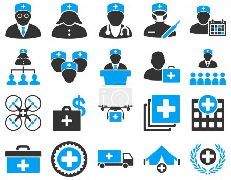 Photo for Medical icon set. Style: bicolor icons drawn with blue and gray colors on a white background - Royalty Free Image