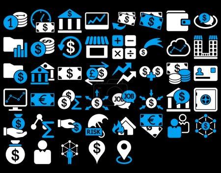 Illustration pour Ensemble d'icônes d'affaires. Ces icônes bicolores plates utilisent des couleurs bleues et blanches. Les images vectorielles sont isolées sur un fond noir - image libre de droit