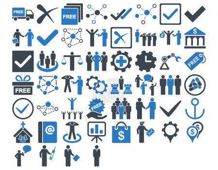 Photo for Business Icon Set. These flat bicolor icons use smooth blue colors. Vector images are isolated on a white background - Royalty Free Image