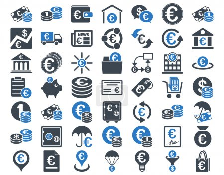Photo for Euro Banking Icons. These flat bicolor icons use smooth blue colors. Vector images are isolated on a white background - Royalty Free Image