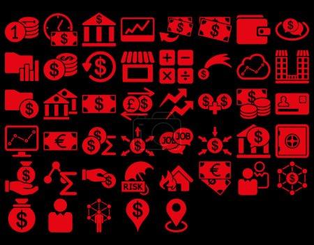 Ilustración de Conjunto de iconos de negocios. Estos iconos planos usan color rojo. Imágenes vectoriales son aisladas en un fondo negro - Imagen libre de derechos