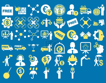 Photo for Business Icon Set. These flat bicolor icons use yellow and white colors. Vector images are isolated on a blue background - Royalty Free Image