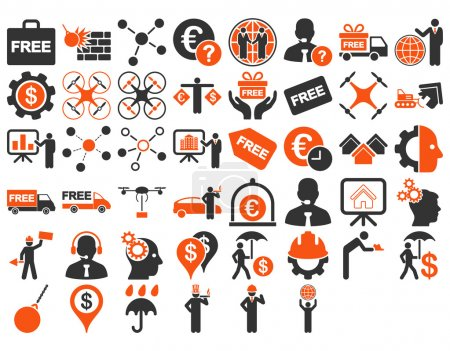 Photo for Business Icon Set. These flat bicolor icons use orange and gray colors. Vector images are isolated on a white background - Royalty Free Image